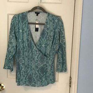 Talbots 1X petite 3/4 sleeve stretch top